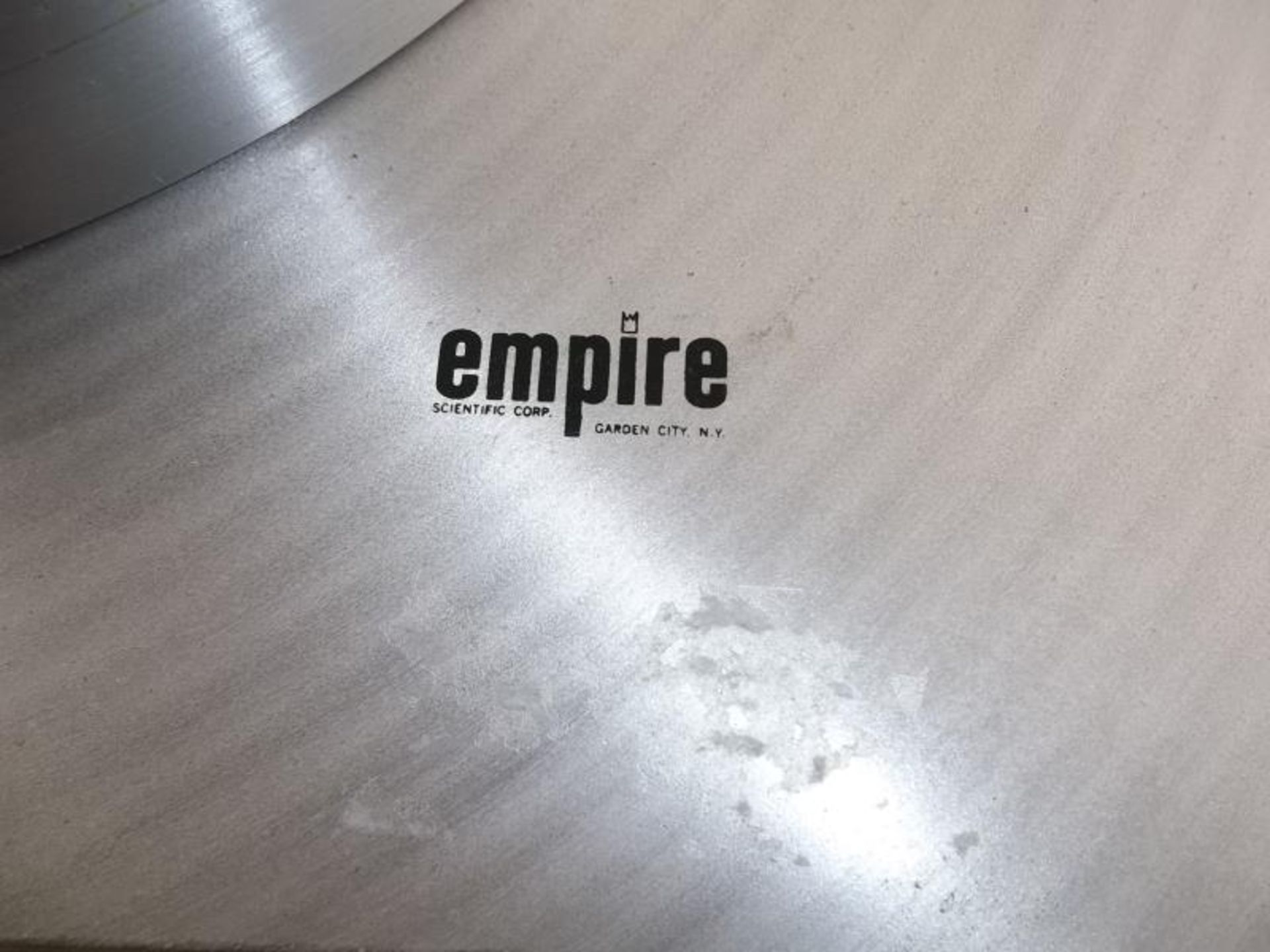 Lot 560 - Empire turntable, no arm, brushed silver finish (pitted)