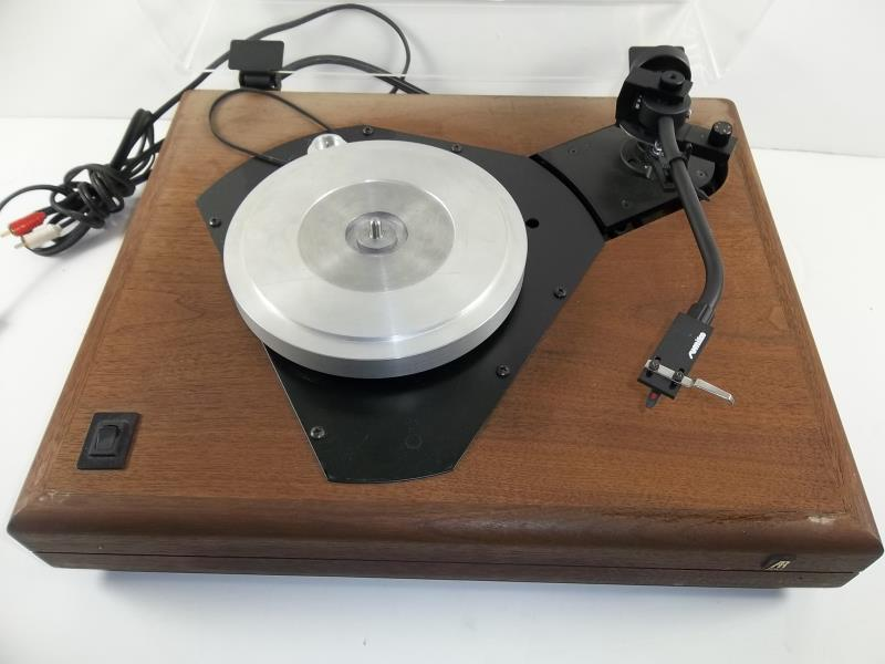 Lot 608 - AR Acoustic Research turn table with dust cover, with Sumiko arm, no mat, ES-1 turntable, wood