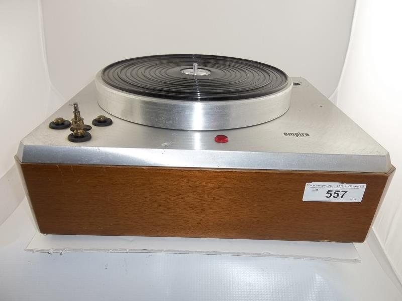 Lot 557 - Empire turntable, no arm, no corner plate, brushed silver finish, #28795