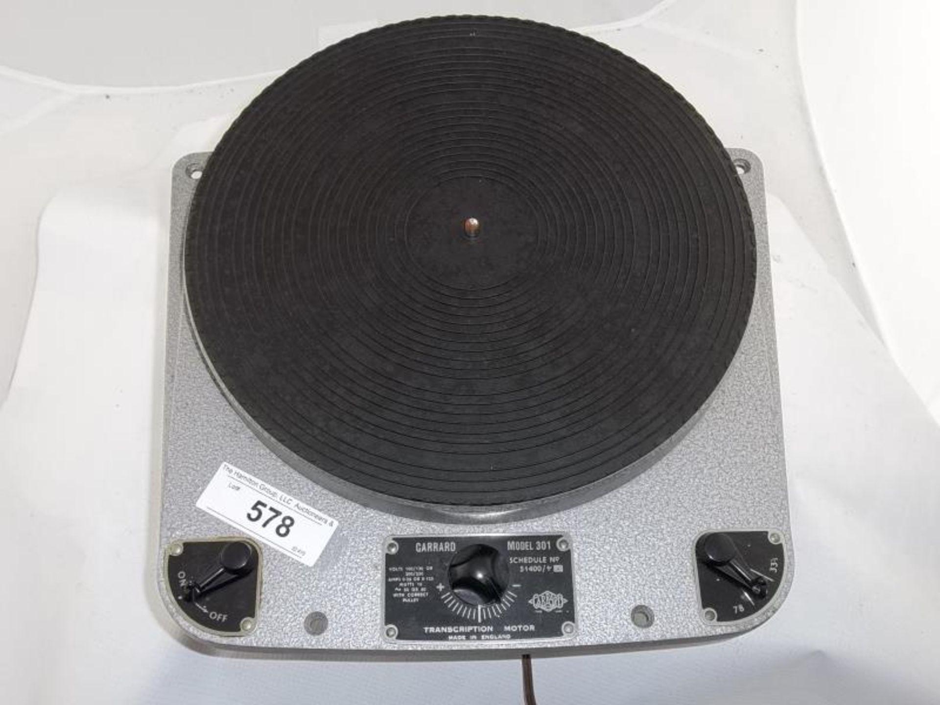 Lot 578 - Garrard model 301 turntable, made in England, schedule 51400/2, no base, no arm, transcription