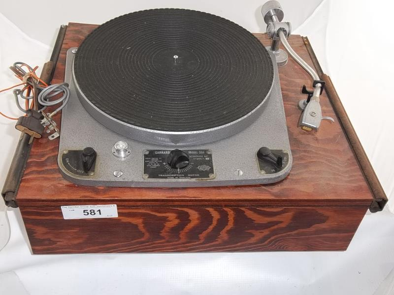 Lot 581 - Garrard turntable, model 301, made in England, transcription motor, schedule 51400/1, 33 1/3, 45,