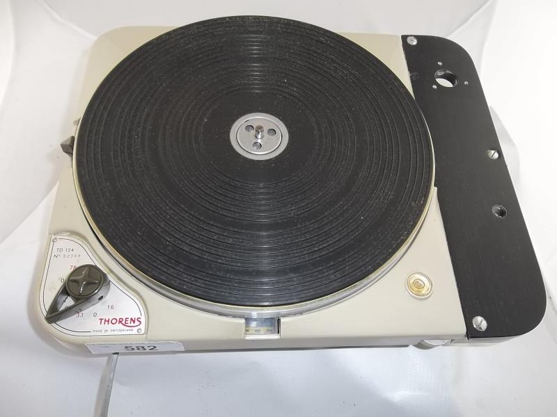 Lot 582 - Thorens TD 124, turntable, #30348, made in Switzerland, 16, 33, 45, 78, no base, no arm