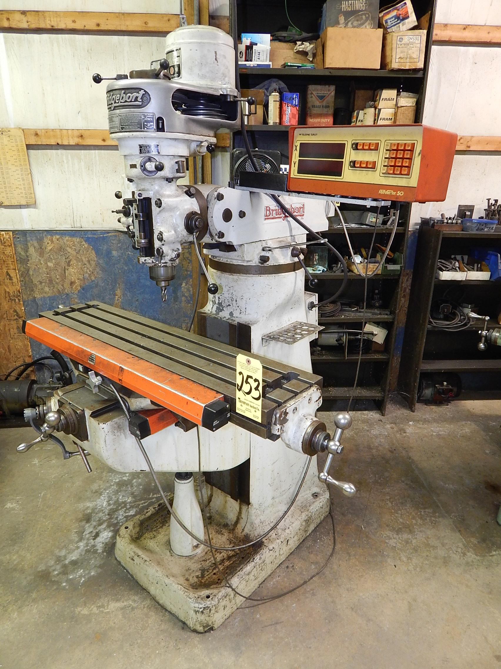 Lot 253 - Bridgeport 1 HP Step Pulley Vertical Mill, s/n 12BR78578,