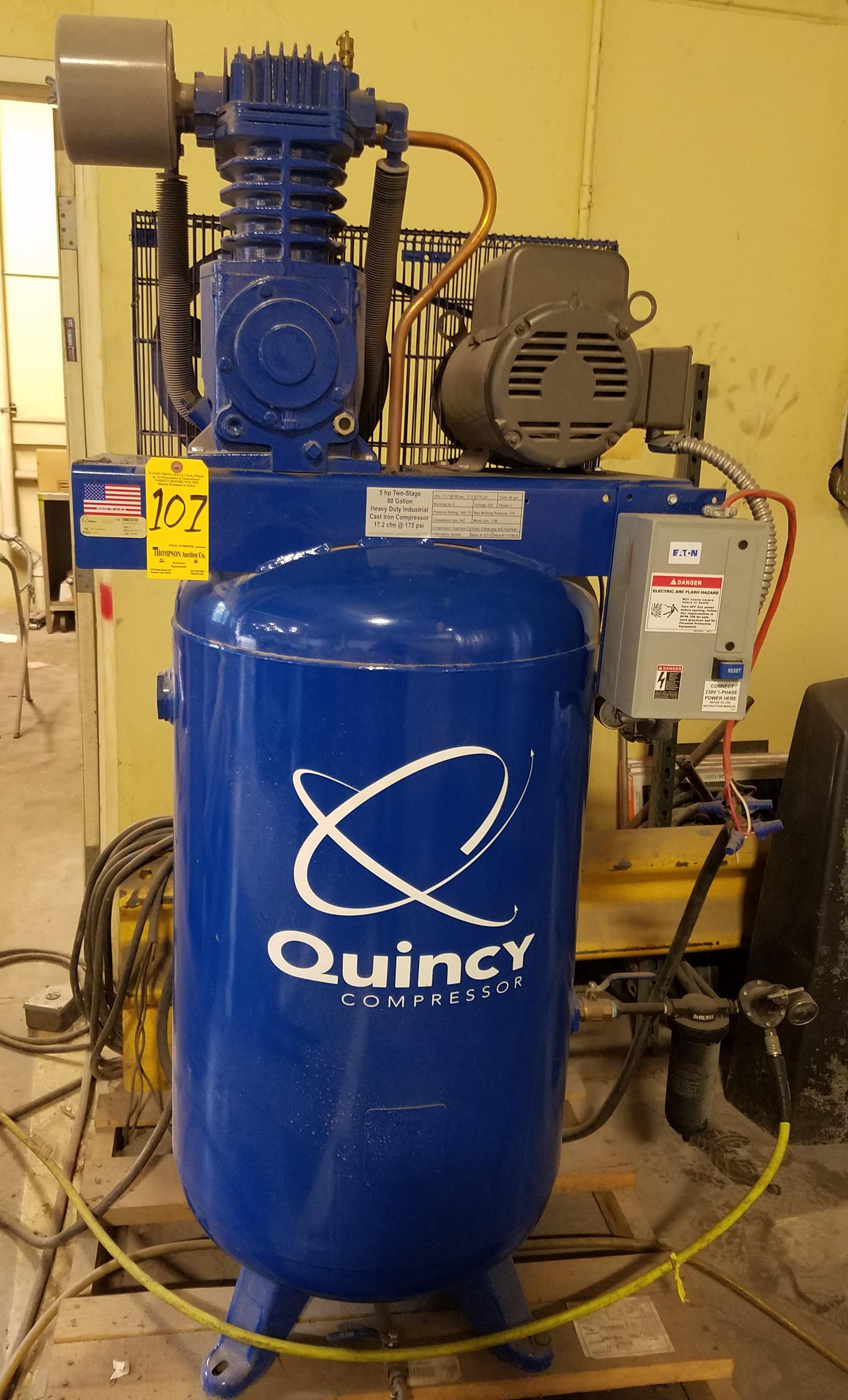 Quincy Model Qt5 2 Stage Air Compressor 5 Hp S N Qu1204040075 Schematic Pro Lot 107
