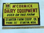 Lot 24 - McCormick-Deering Dairy Equip. Stanton Farm Eq. Co. Stanton NE Sign
