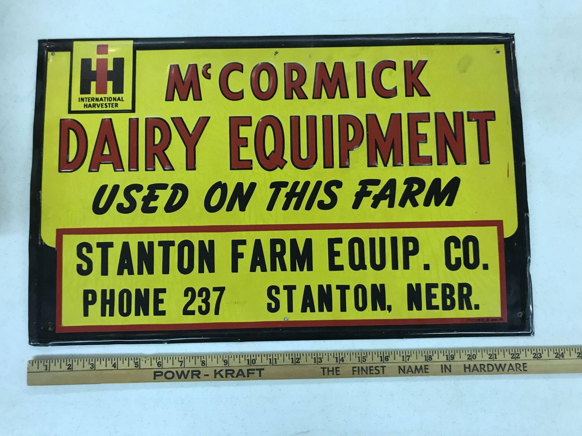 Lot 24 - McCormick-Deering Dairy Equip. Stanton Farm Eq. Co. Stanton NE Sign