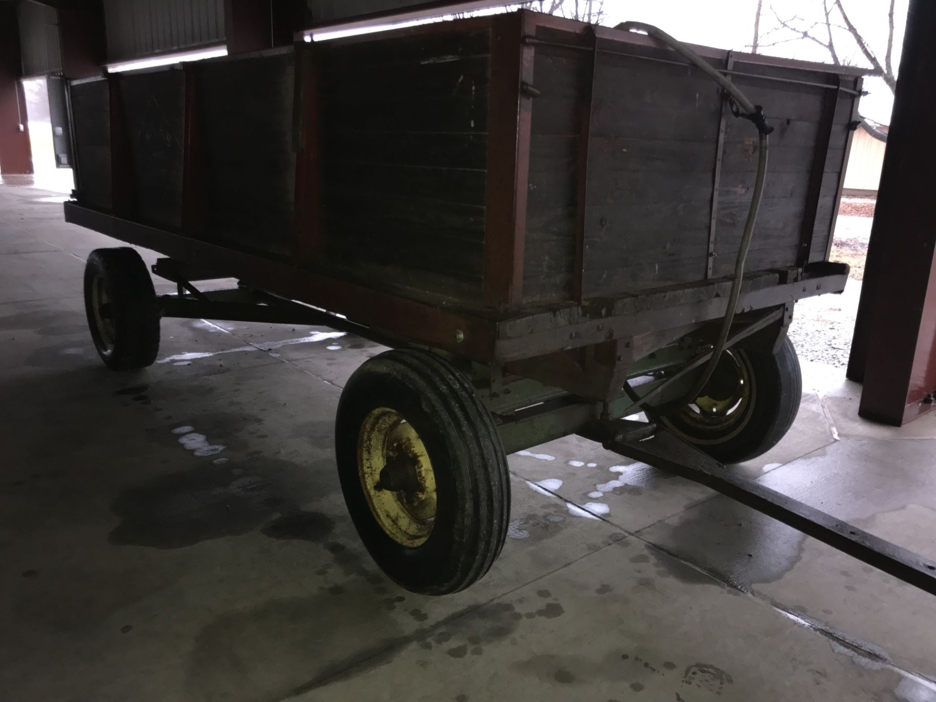 Lot 59 - Wood Barge Wagon w/Hoist on JD Gear