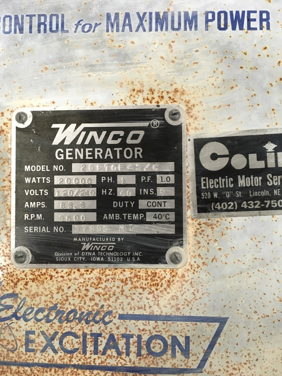 Lot 16 - Winco Mdl.20PTOF-3/C 20,000watt 1 Phase, PTO Generator S#37893 M7 w/3pt Carrier