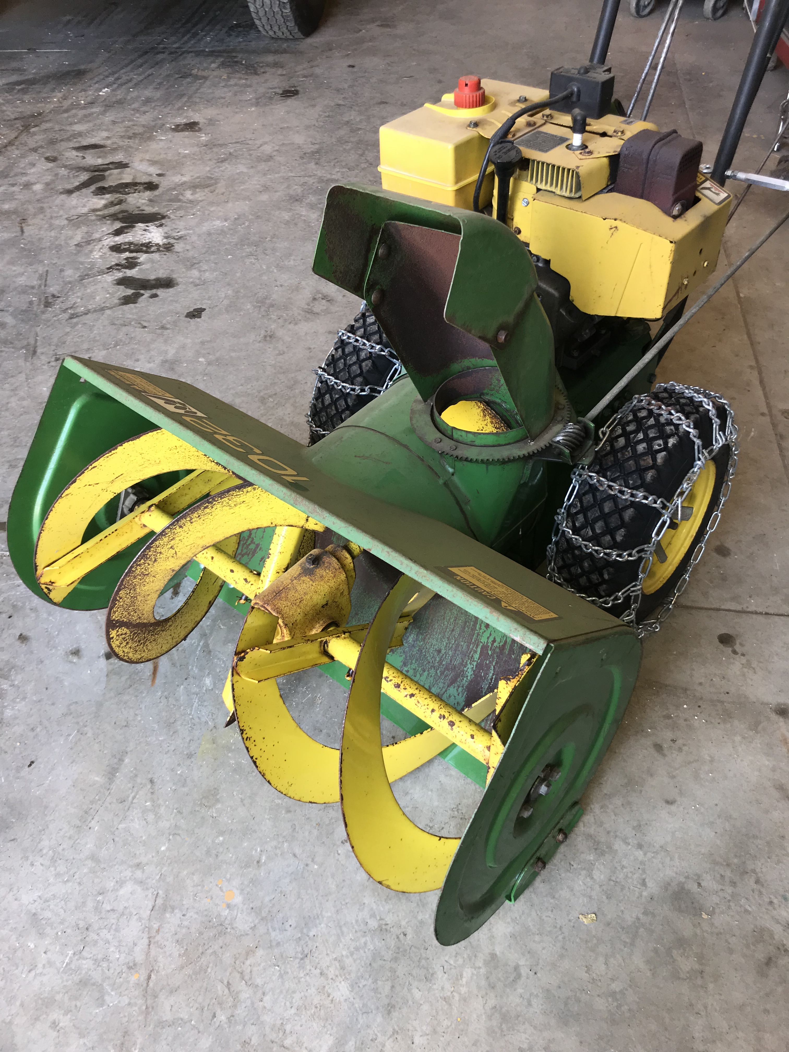 "Lot 20 - JD 1032 2 Stage 10hp 32"" Snow Blower w/Chains, Elec. Start"