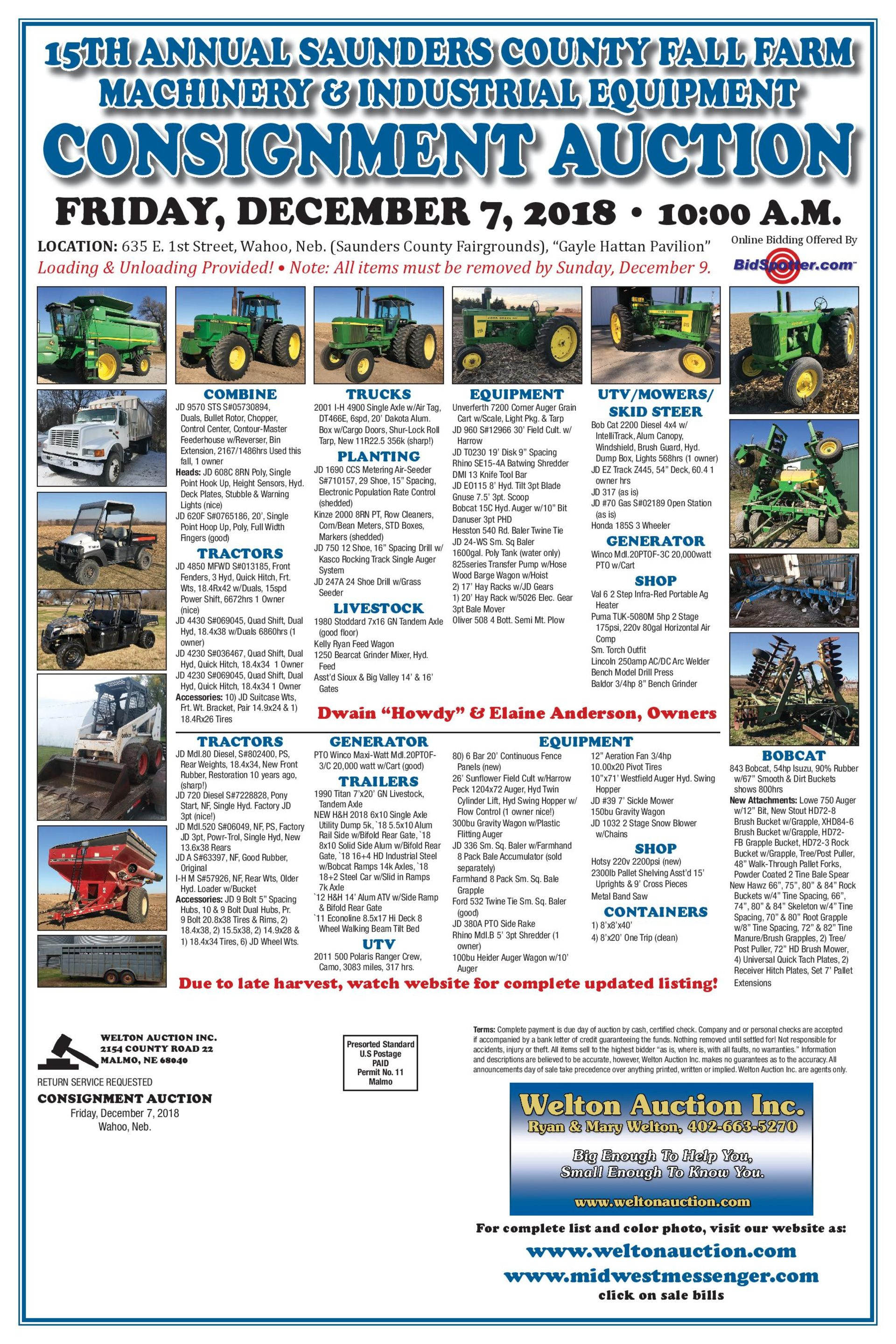 Lot 0 - Register Now! 15th Annual Farm Equipment Consignment Auction