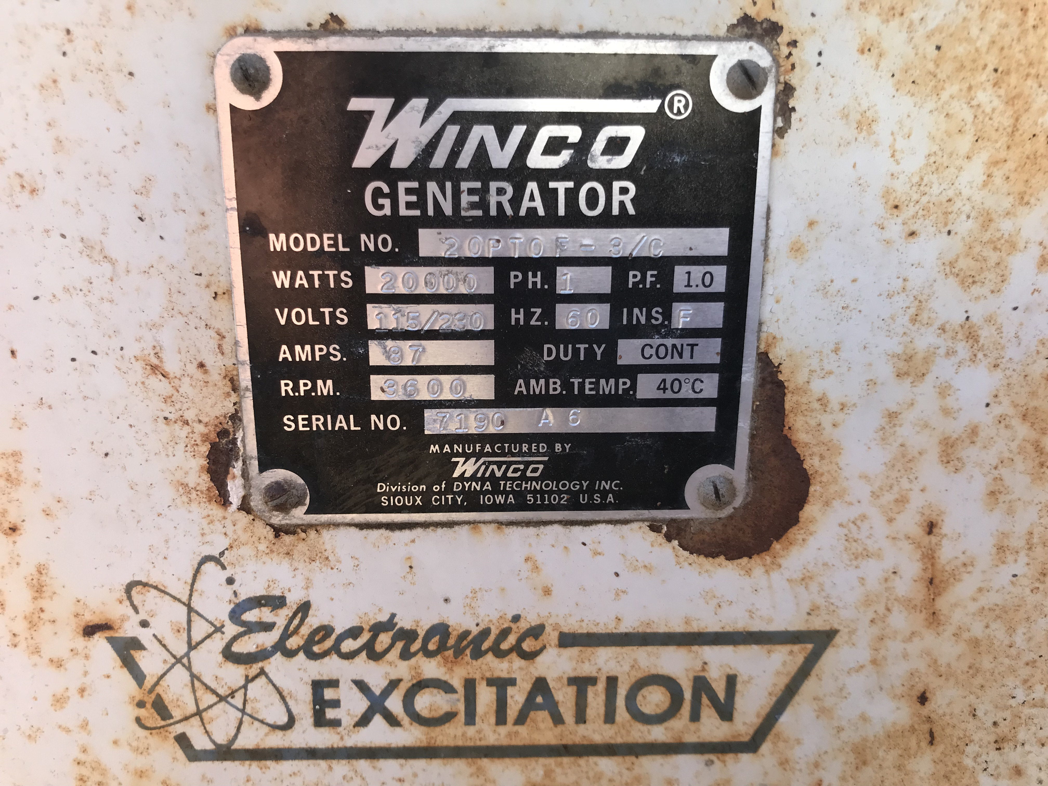 Lot 7 - Winco 20,000watt PTO Generator, 1phase w/Cart S#7190C A6