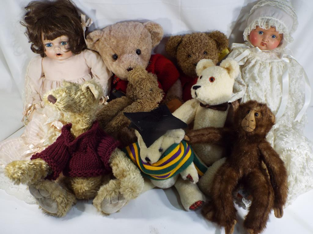 Lot 60 - A selection of nine dolls and bears by Anica, Sunkid, The Original Wheat Bag Co.