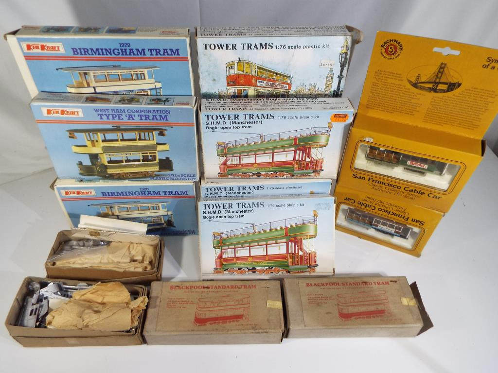 Lot 11 - A collection of eleven boxed tram kits and two trams by Keil Kraft and Anbrico, Bachmann and others,