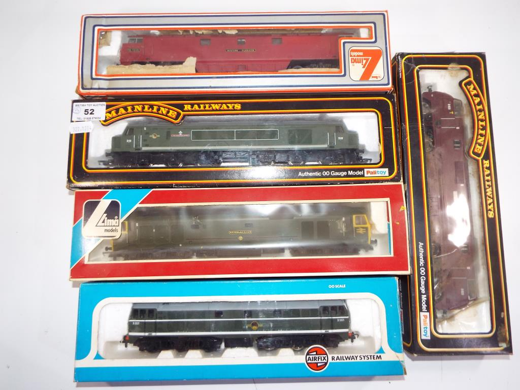 Lot 52 - Model Railways - five OO gauge diesels by Main Line,