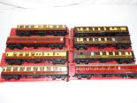 Lot 48 - Model Railways - eight Hornby Dublo OO gauge tin plate coaches (little warping to some roofs) in