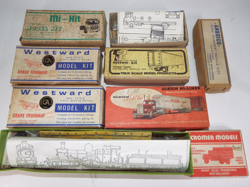 Lot 42 - Westward, Anbrico, Models and Leisure Ltd and others - nine white metal kits predominantly trucks,