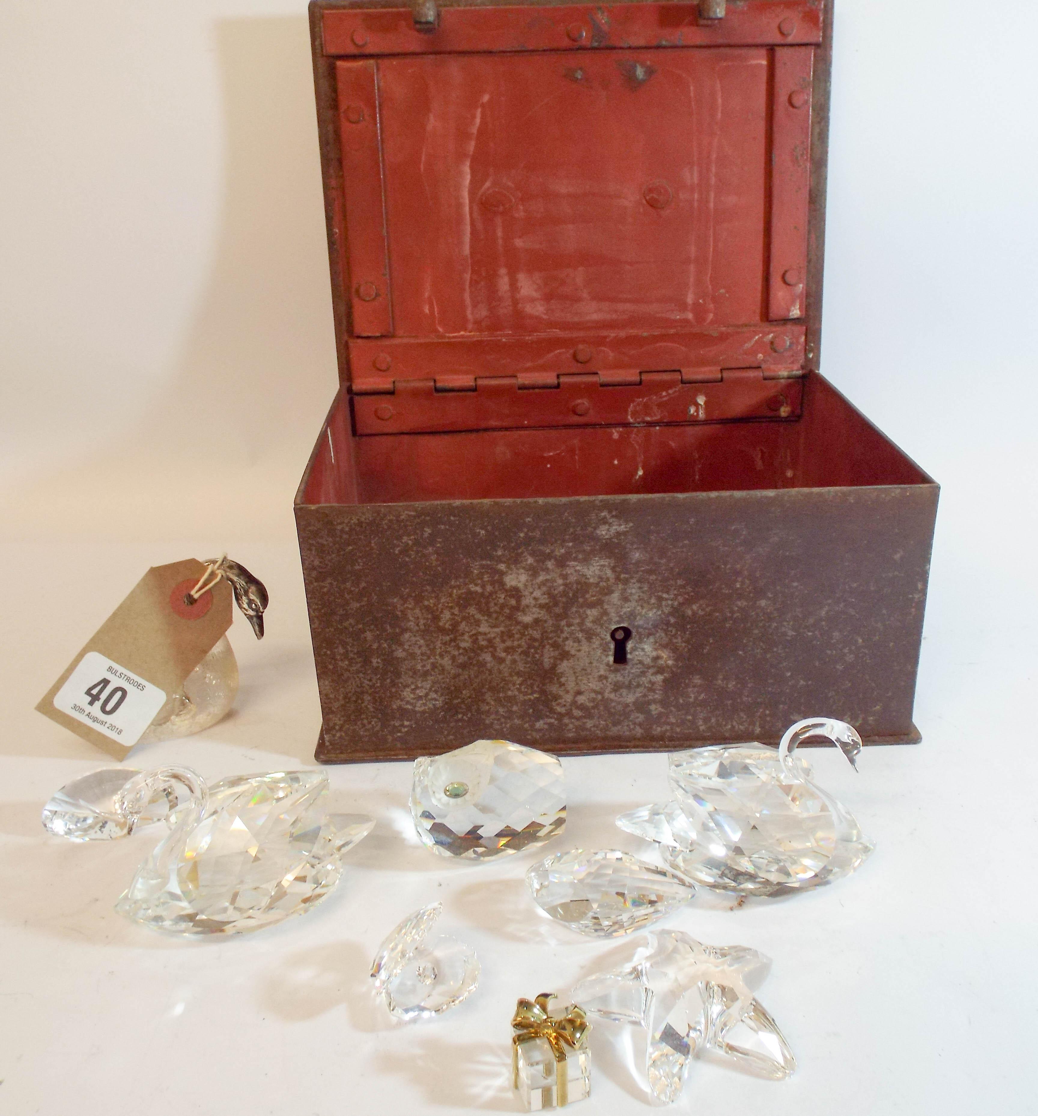 47840bdac894 Lotto 40 - An antique locking metal box containing Swarovski crystal animals  and birds ...