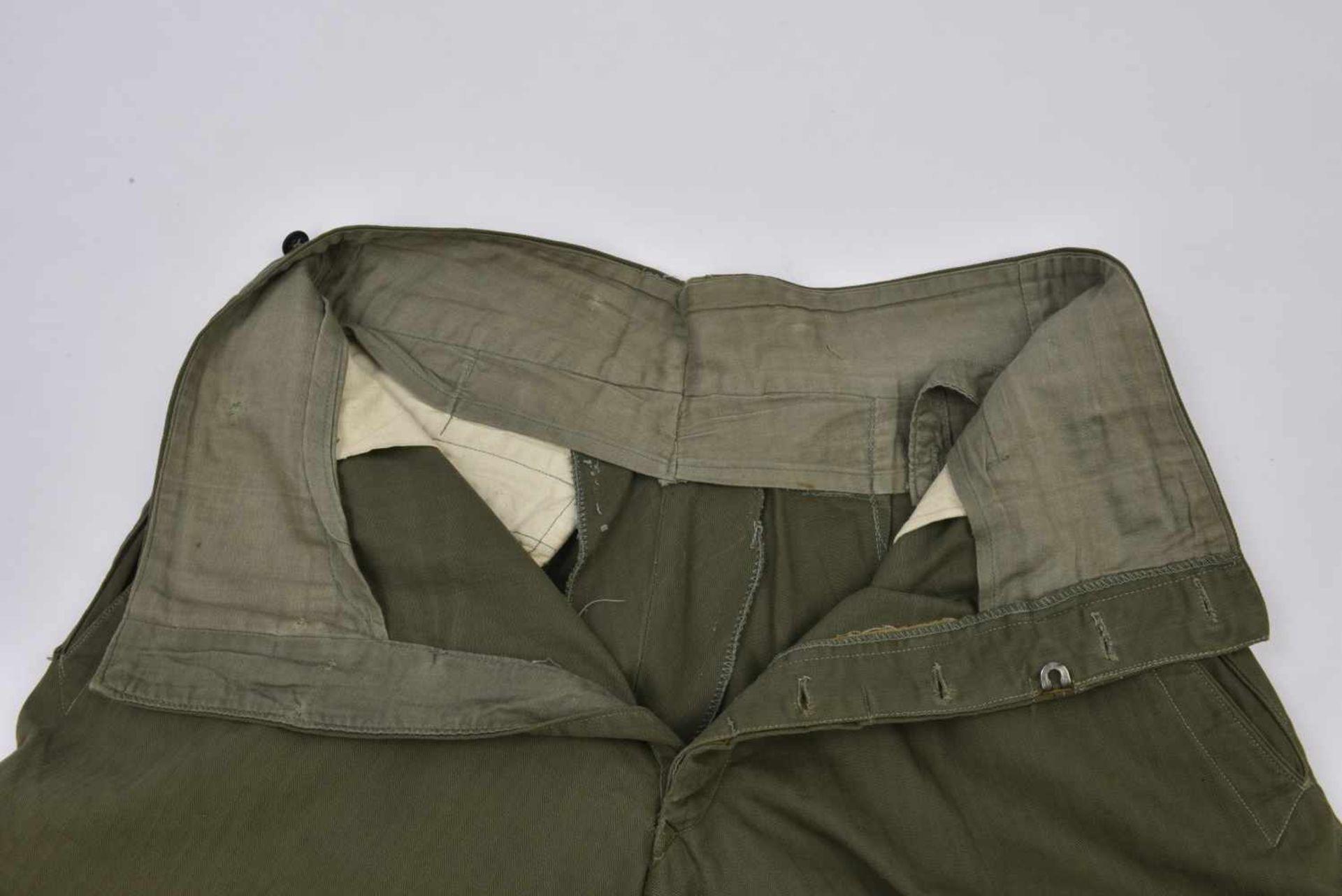 Culotte troupe M.35 en drap HBT exemplaire pratiquement neuf, RARE ! M.35 trousers in the HBT cloth. - Bild 2 aus 4