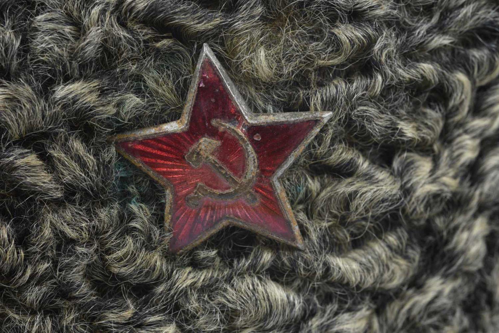 Ushanka en astrakan pour officier. Avec étoile rouge. Portée. Taille 57 environ. Ushanka in - Bild 4 aus 4