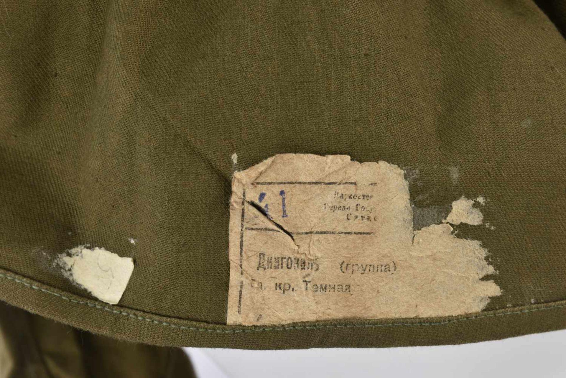 Gymnasterka M.43 modèle sans poches, avec pattes de col d'un soldat de l'artillerie. Très belle et - Bild 4 aus 4
