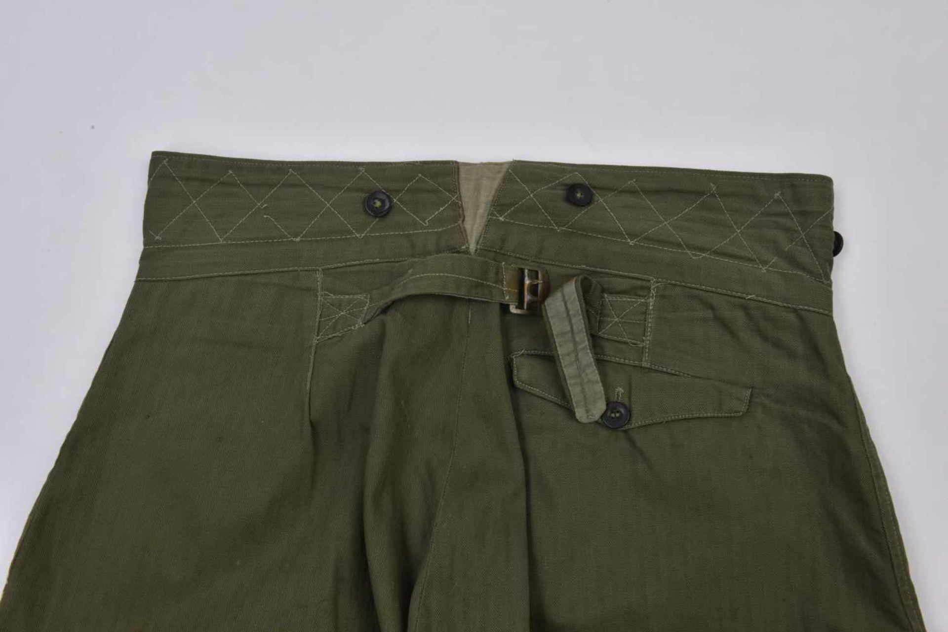 Culotte troupe M.35 en drap HBT exemplaire pratiquement neuf, RARE ! M.35 trousers in the HBT cloth. - Bild 3 aus 4