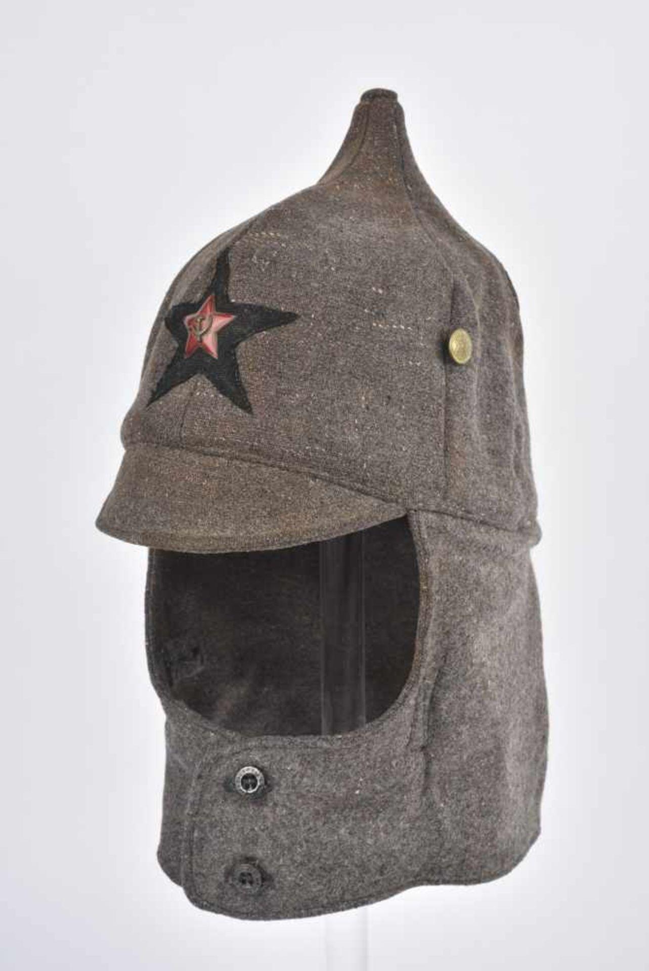 Budyonovka, M.27 pour l'artillerie ou les troupes blindées Complète avec étoile en tissu noire, - Bild 3 aus 4