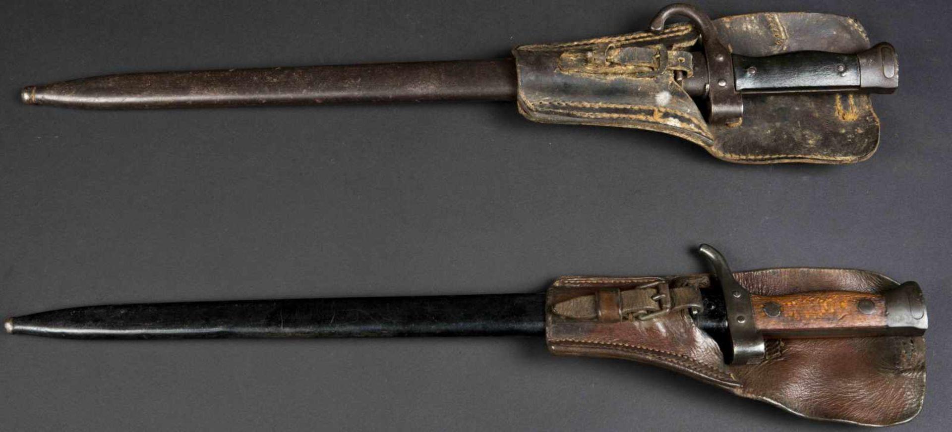 Lot de deux baïonnettes, modèle 1892 et modèle 1892/1915 pour mousqueton (état moyen). Porte-épées - Bild 3 aus 4