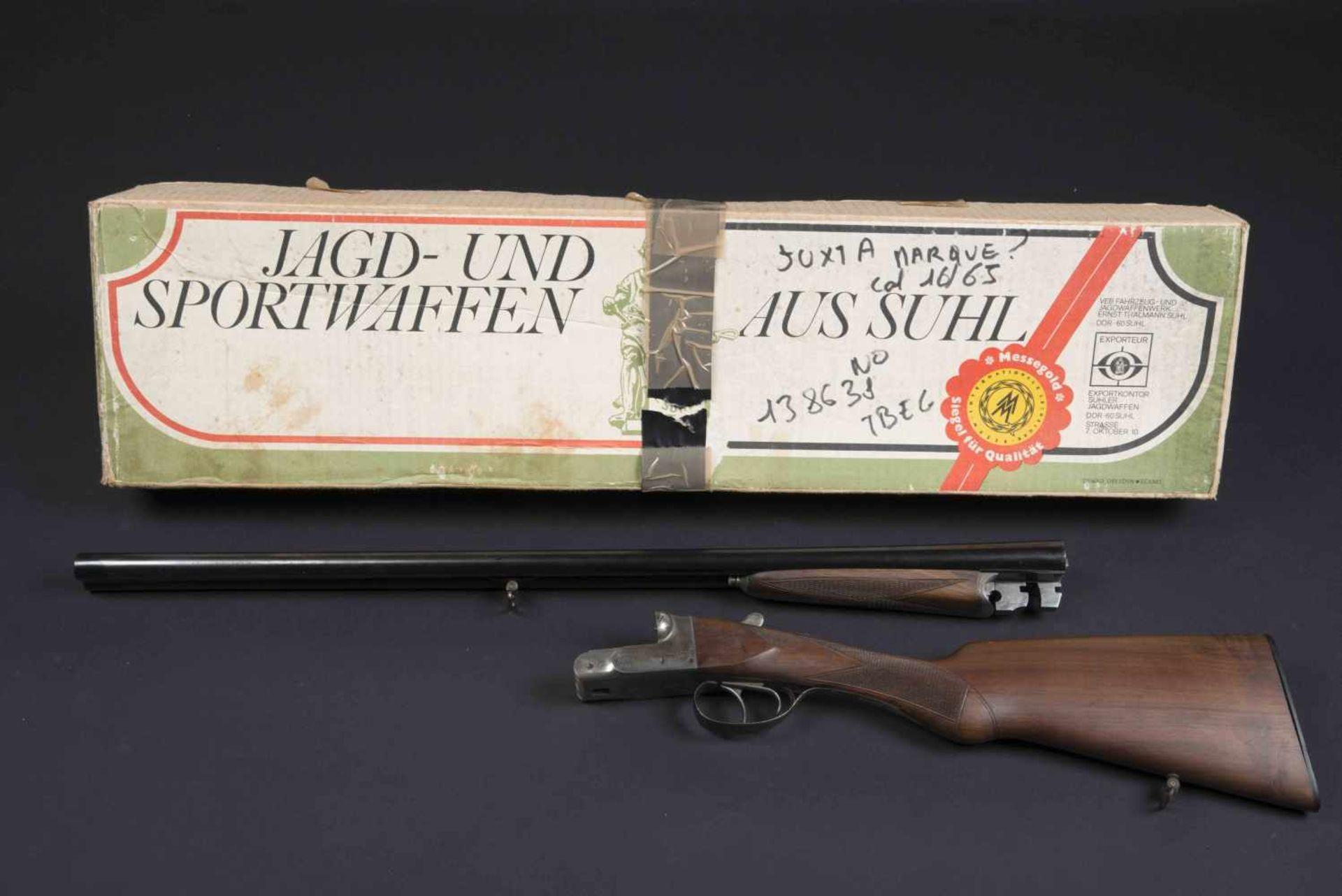 Fusil juxtaposé modèle artisanal Catégorie C Calibre 16/65. Numéro 138638. Carton non au modèle de