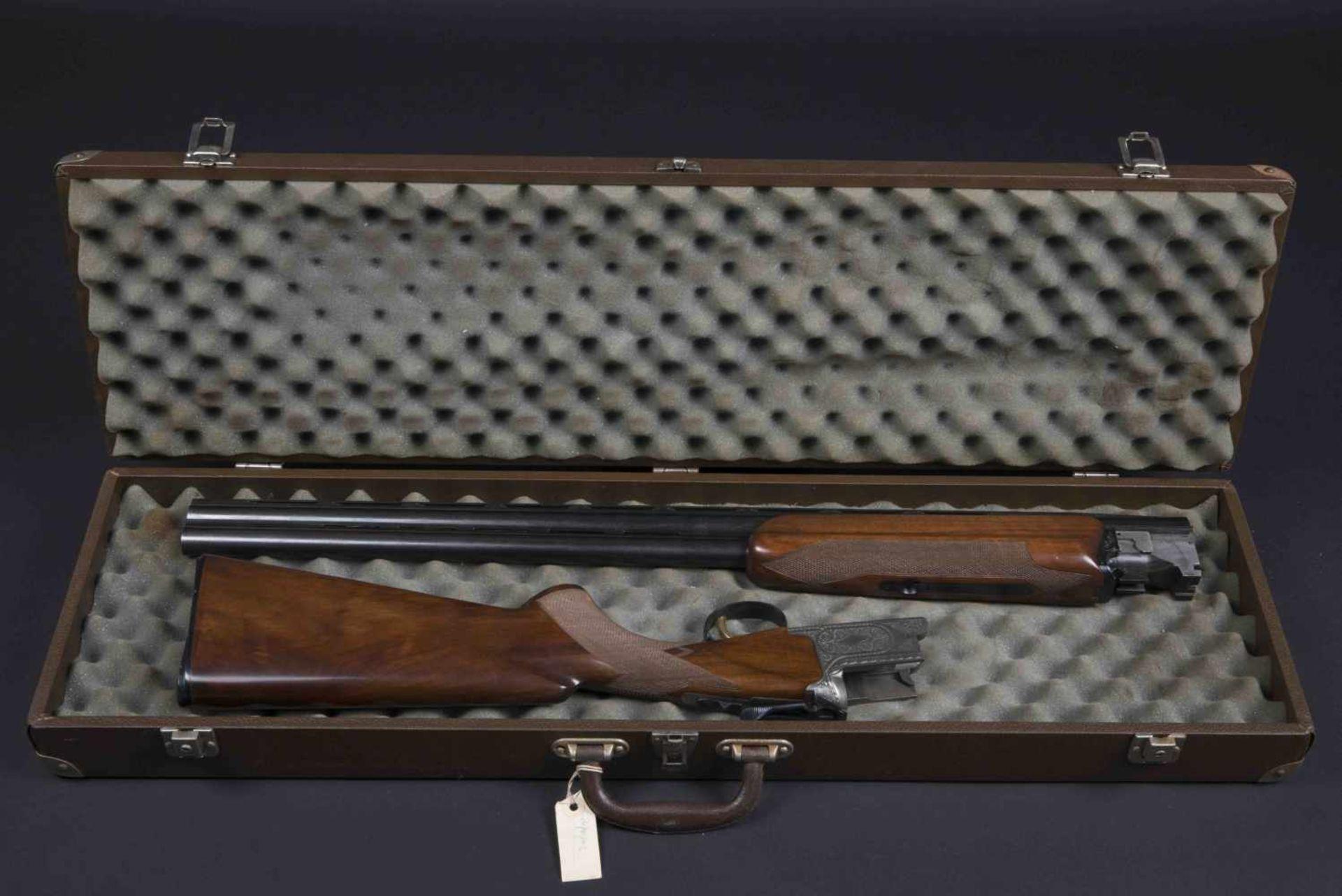 Fusil juxtaposé Nikko 5000 Catégorie C Calibre 12, numéro K63518. Carton non au modèle de l'arme.