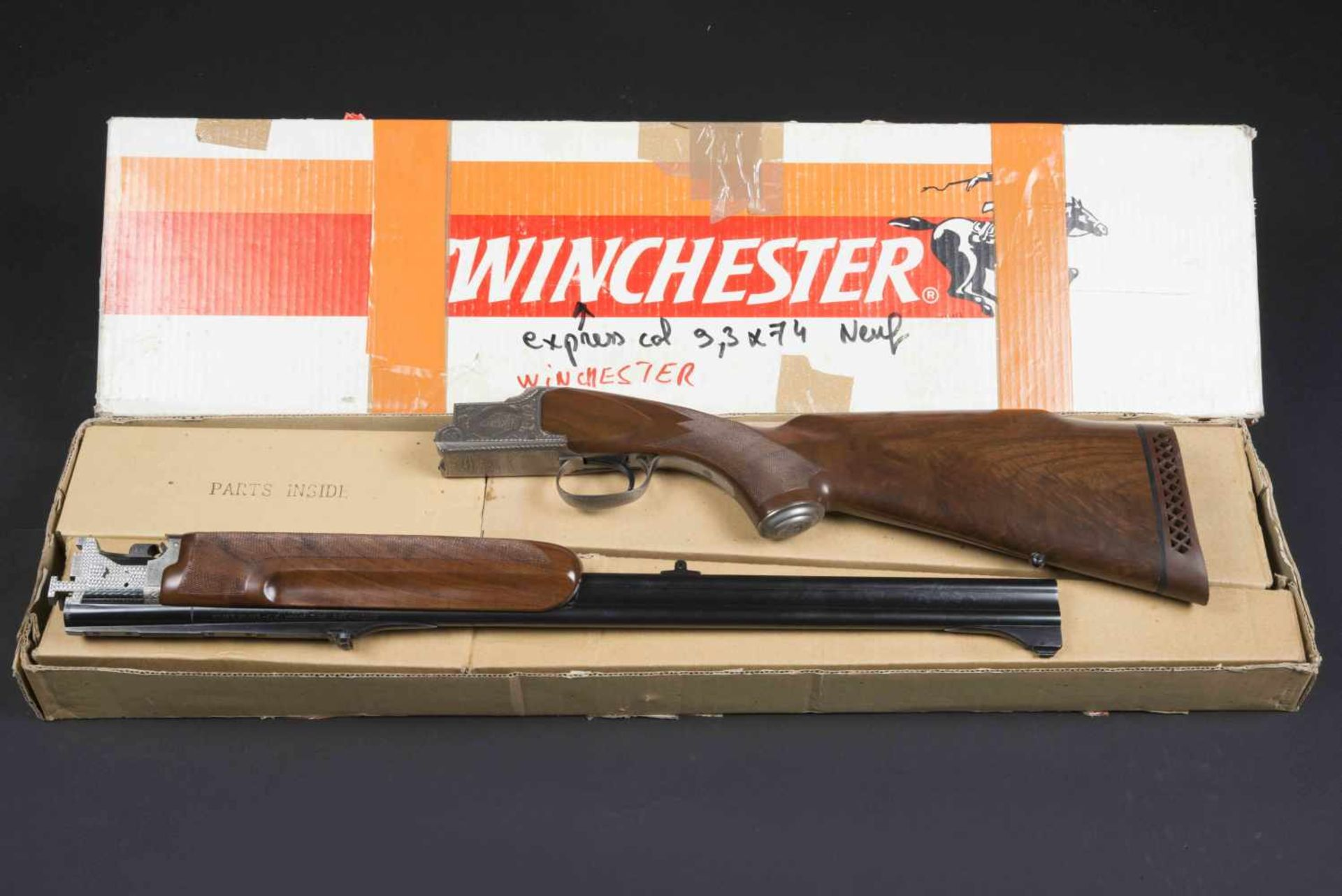Winchester Catégorie C Grand European XT 9,3x74R/9,3x74R. Parties métalliques ciselées, avec