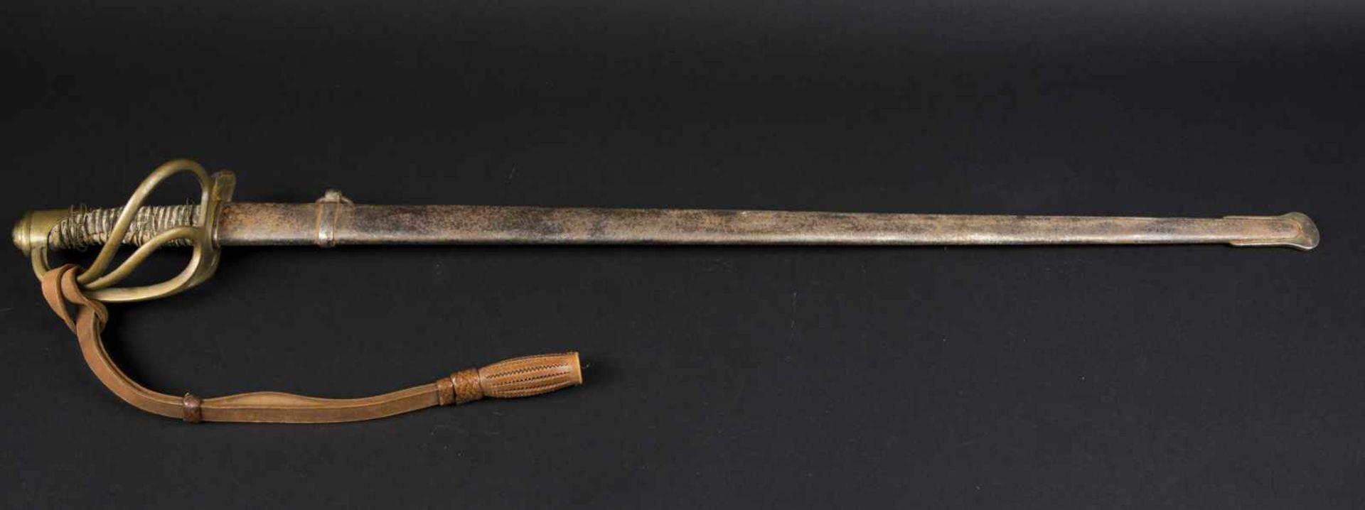 Sabre de cavalerie légère troupe modèle 1882 transformé 1883 lame droite, filigrane de la monture en - Bild 2 aus 4