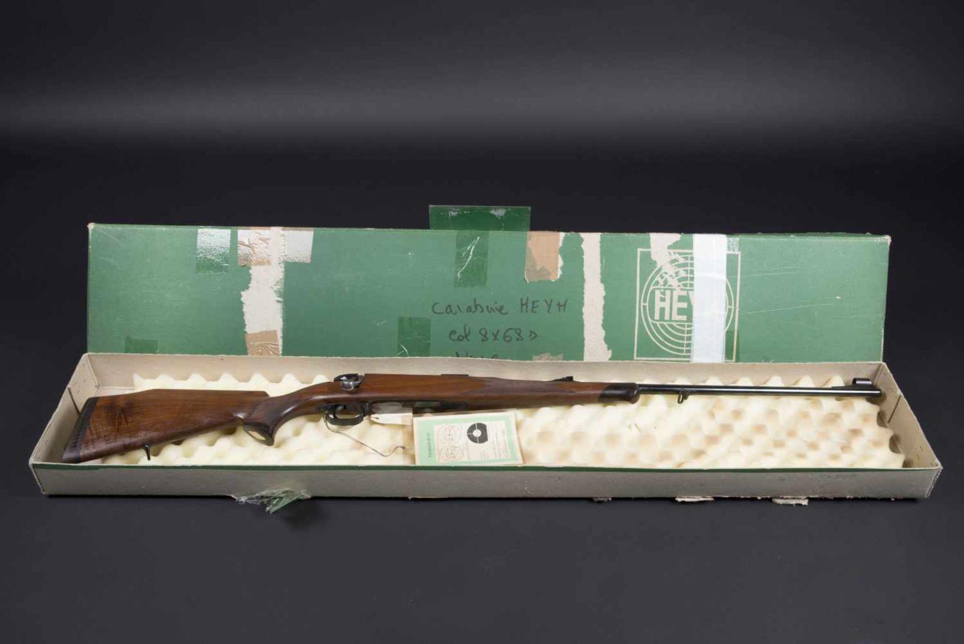 Carabine Heym Catégorie C Calibre 8 x 68 s. Modèle SR 20G. Numéro 92589. Carton au modèle de l'arme.