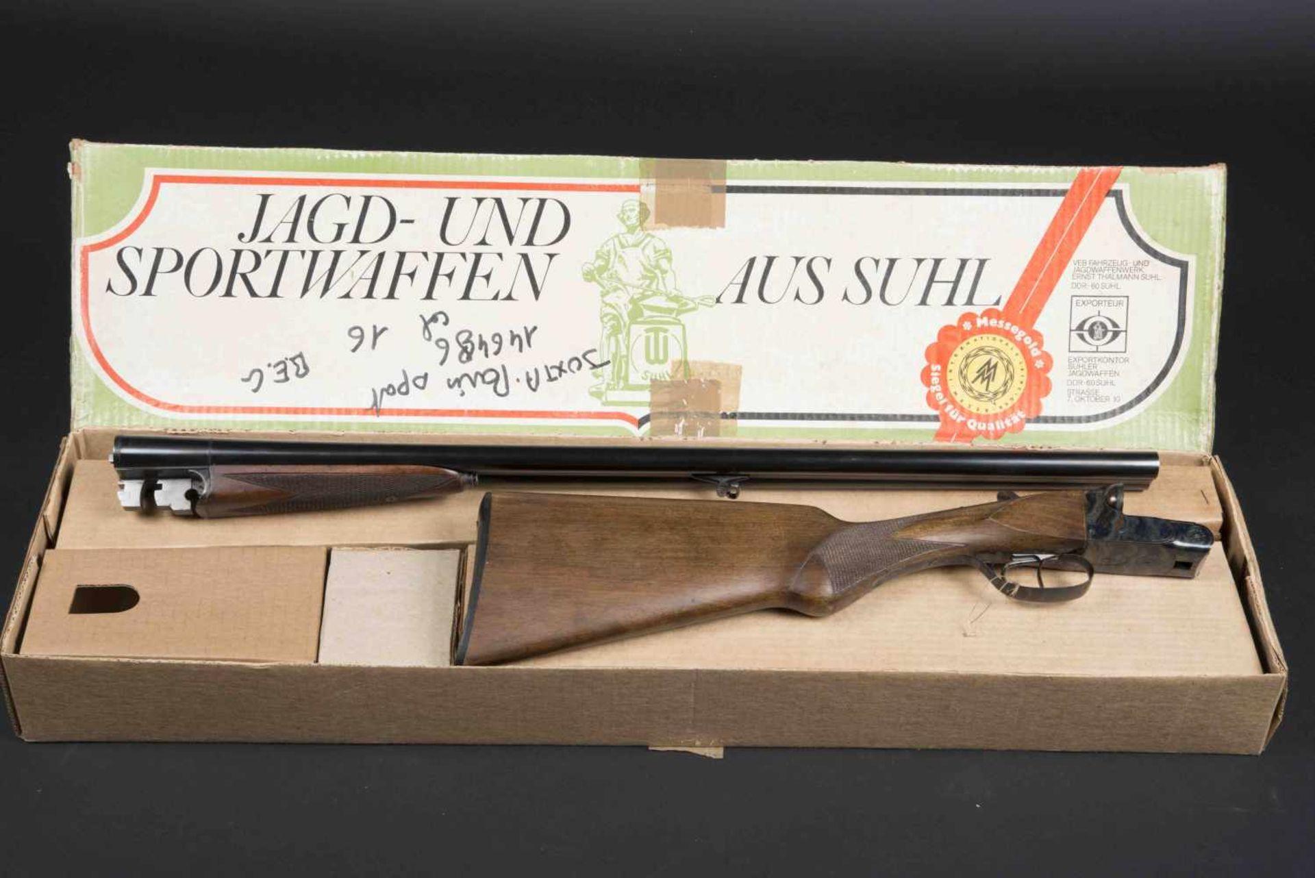 Fusil juxtaposé Paris Sport Catégorie C Calibre 16, numéro 146486. Carton non au modèle de l'arme.