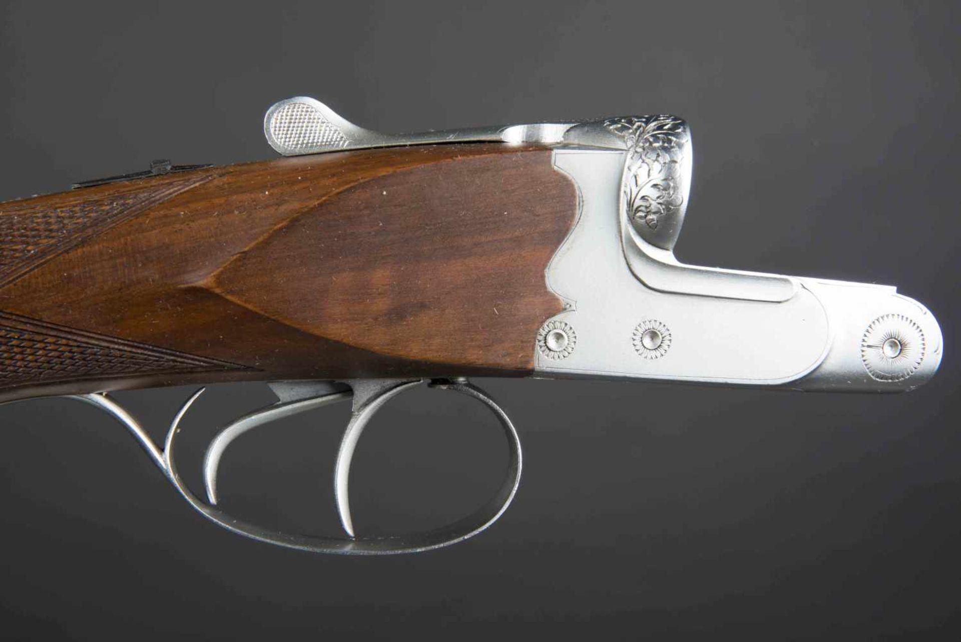 Fusil juxtaposé modèle artisanal Catégorie C Calibre 10/70. Numéro 4207. Canon acier au Creuset. - Bild 2 aus 3