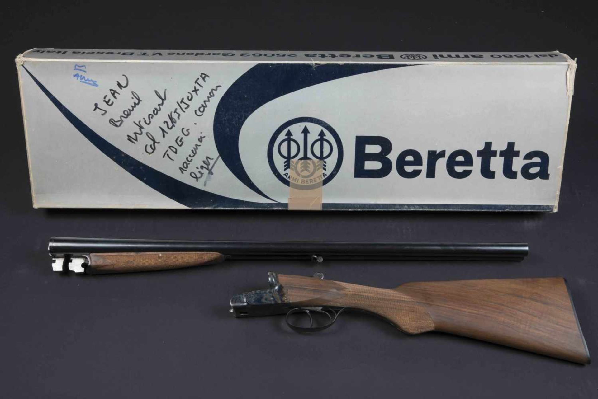 Fusil juxtaposé J Breuil Catégorie C Calibre 12/65, canon raccourci. Numéro 1232. Crosse
