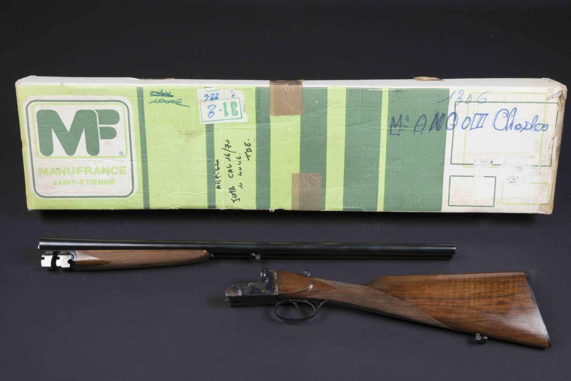 Fusil juxtaposé artisanal Catégorie C Calibre 16/70, numéro 4045, fabrication Poicon Caen, canon