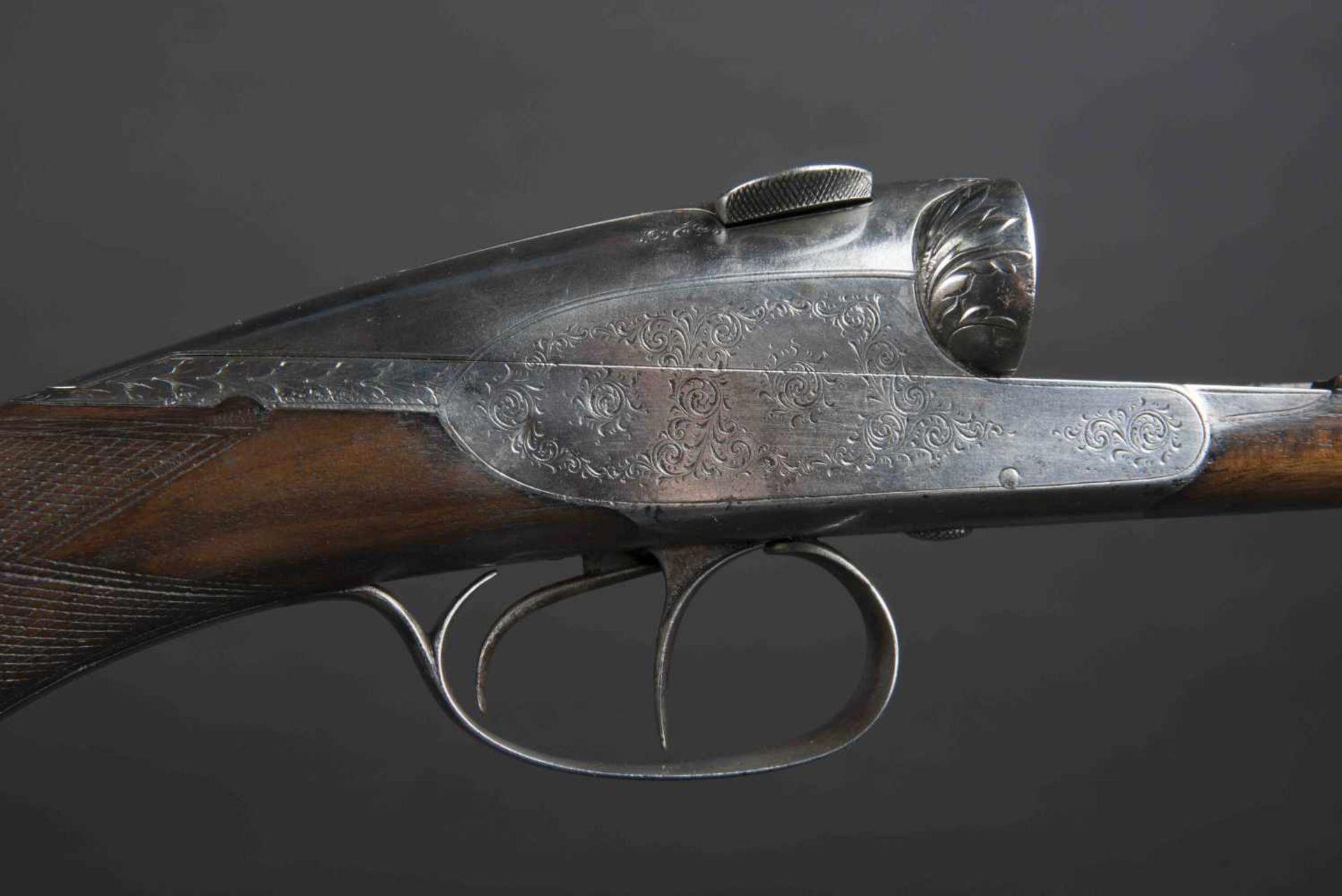 Fusil de chasse Charlin Catégorie C Plaque de couche en caoutchouc, parties métalliques ciselées. - Bild 2 aus 3