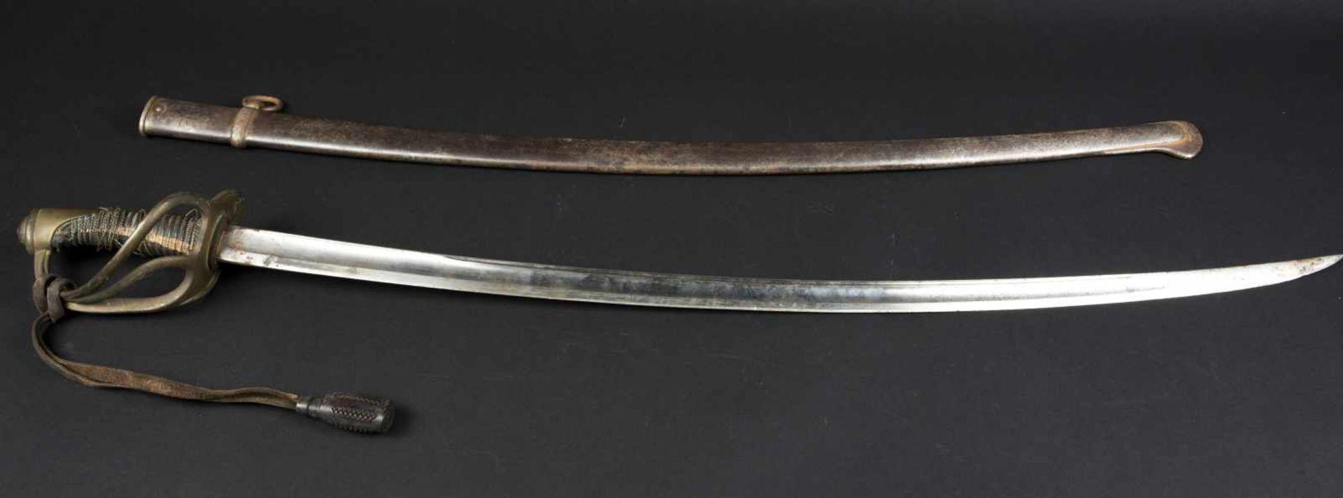 Sabre de cavalerie légère troupe modèle 1822 filigrane de monture en mauvais état, belle lame de