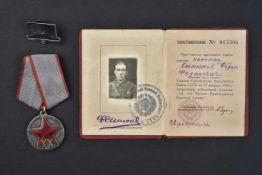 Médaille pour le 20e anniversaire de l'Armée Rouge, type 2 avec son document d'attribution et sa