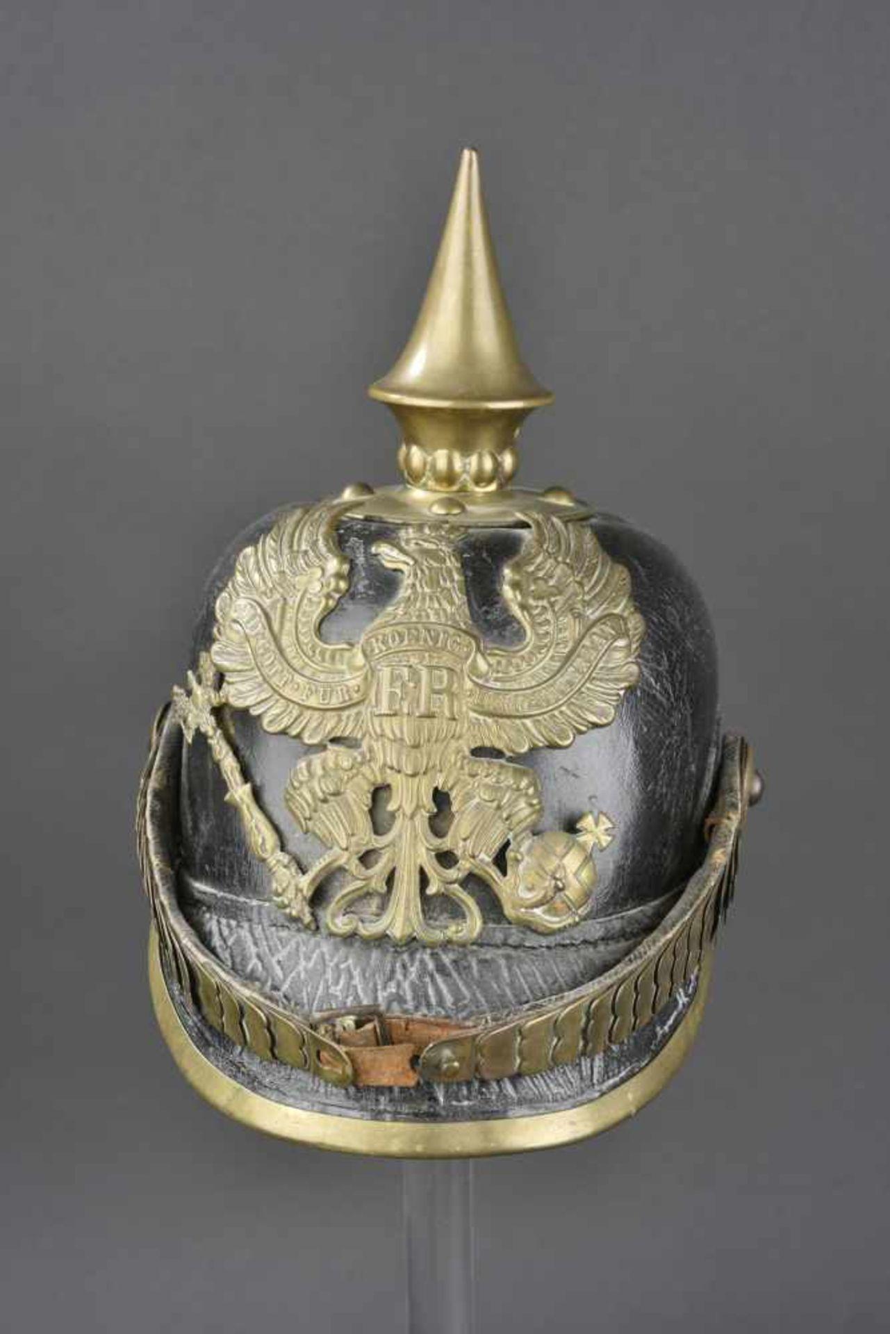 PRUSSE Casque à pointe de troupe de l'infanterie Prussienne, modèle 1867/71 Ce type de casque a