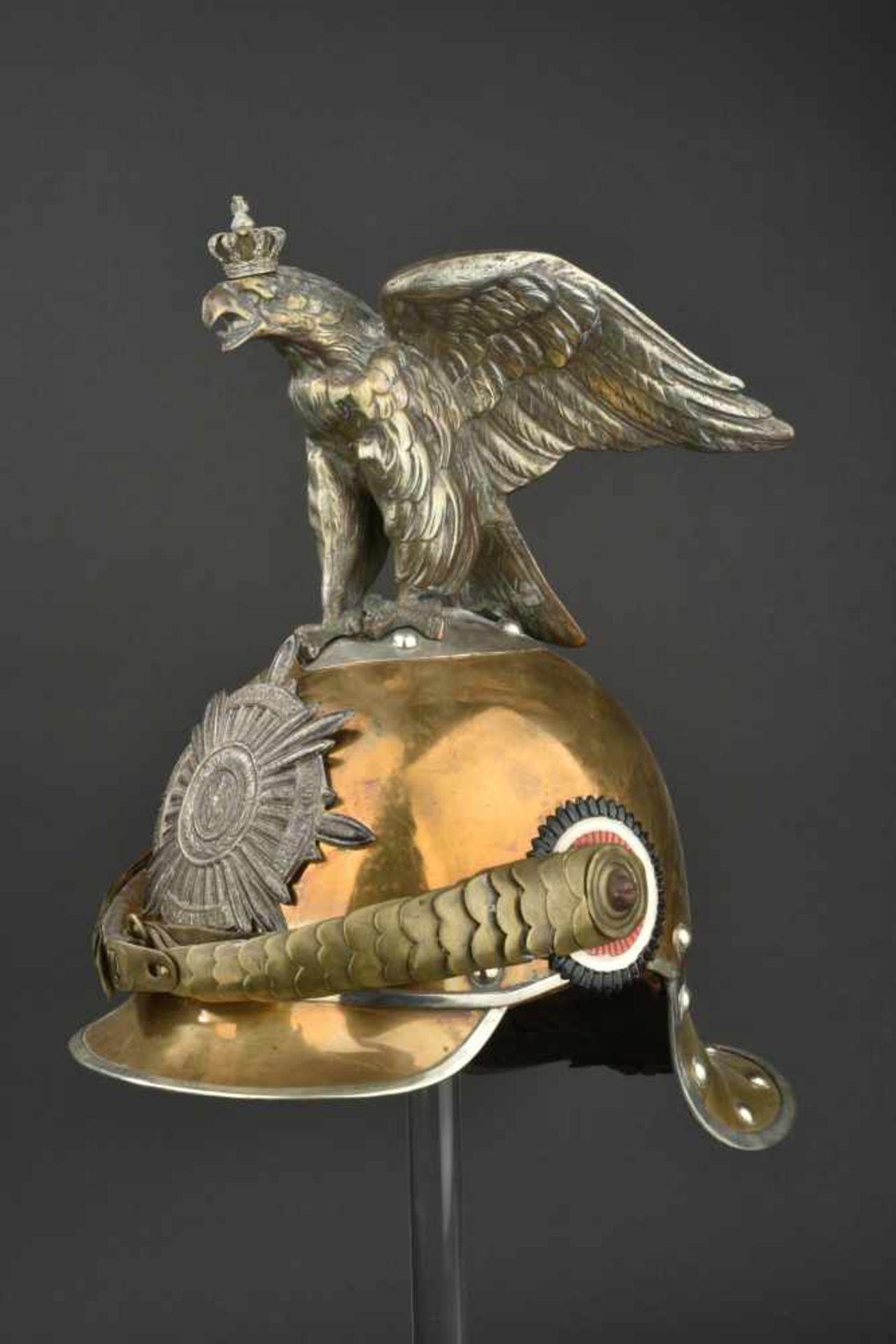 Los 23 - PRUSSE Casque de troupe des G.D.C ou G.K.R. modèle 1867 modifiée 1889 Bombe en tombac (avec de