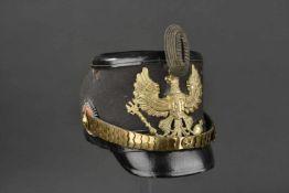 PRUSSE Shako d'Officier des bataillons 3 à 9 et 11 de chasseurs à pied Corps en cuir fin recouvert
