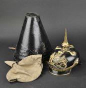 BAVIÈRE Casque d'Officier des régiments de chevaux léger Bavarois modèle 1915 En métal de guerre