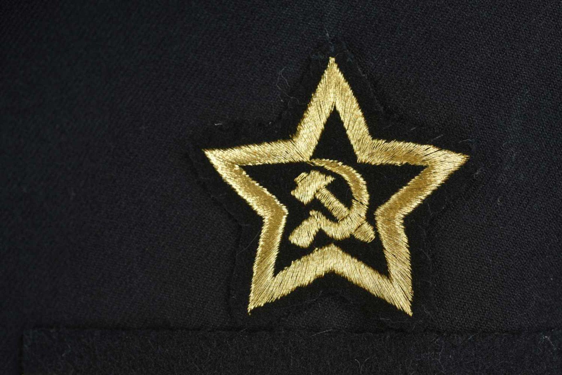Los 54 - Uniforme de Contre amirale soviétique, année 1975 Vareuse en tissu noir, grades de col brodés en fil