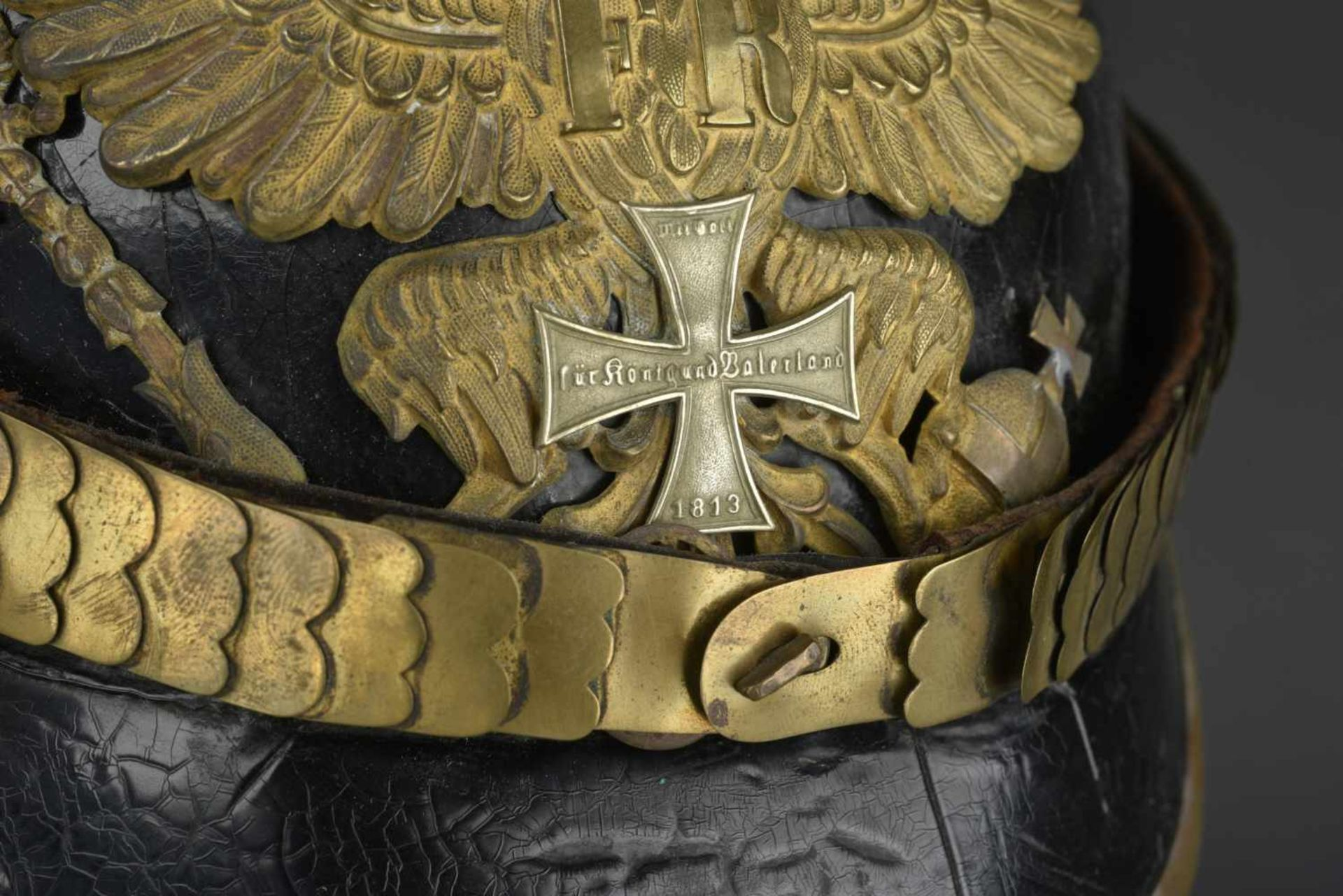 Los 9 - PRUSSE Casque d'artilleur modèle 1871/99 d'engagé Prussien de réserve Soie de la coiffe absente.