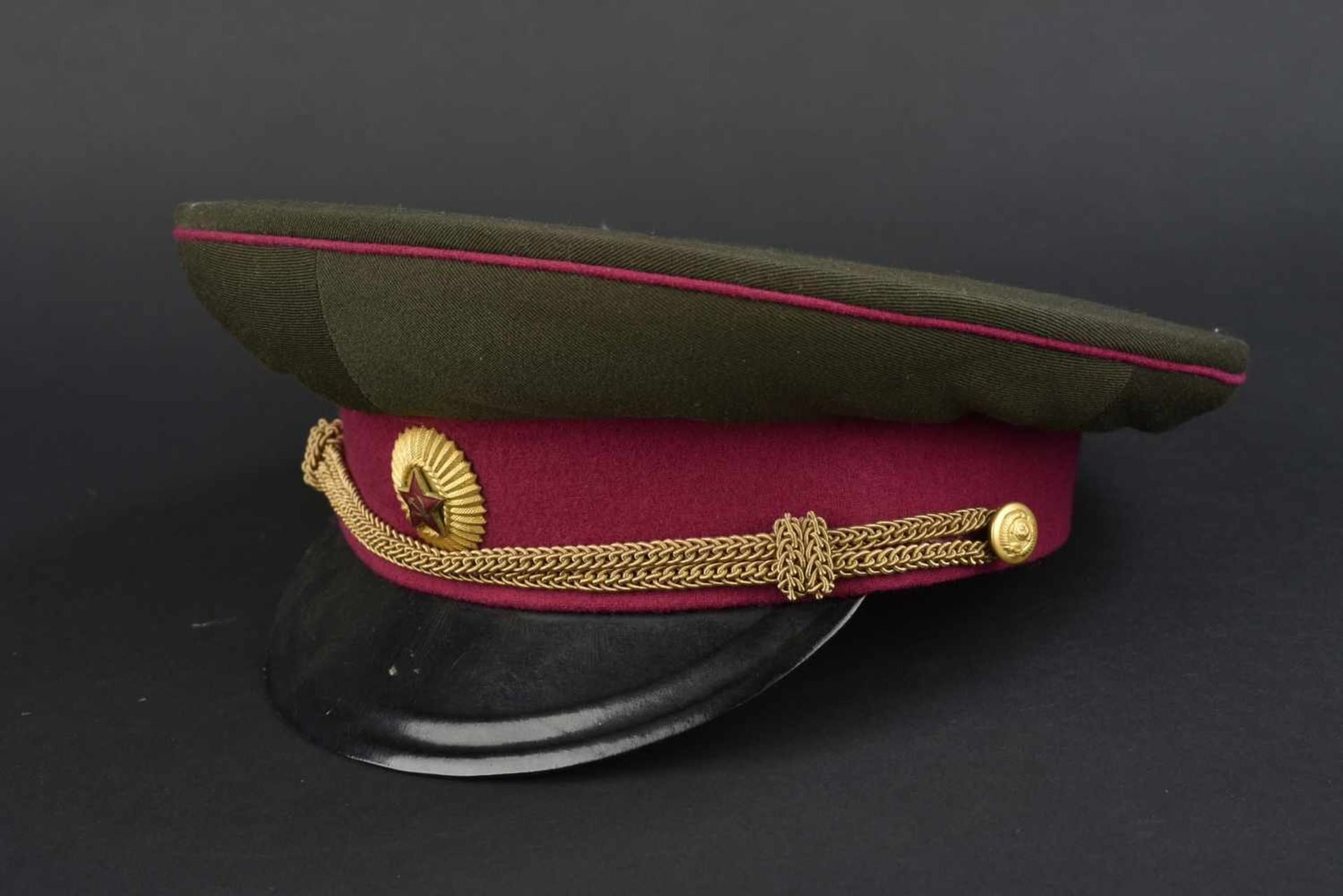 Casquette de service de général d'infanterie soviétique avant 1956 En tissu kaki, bandeau et - Bild 2 aus 4