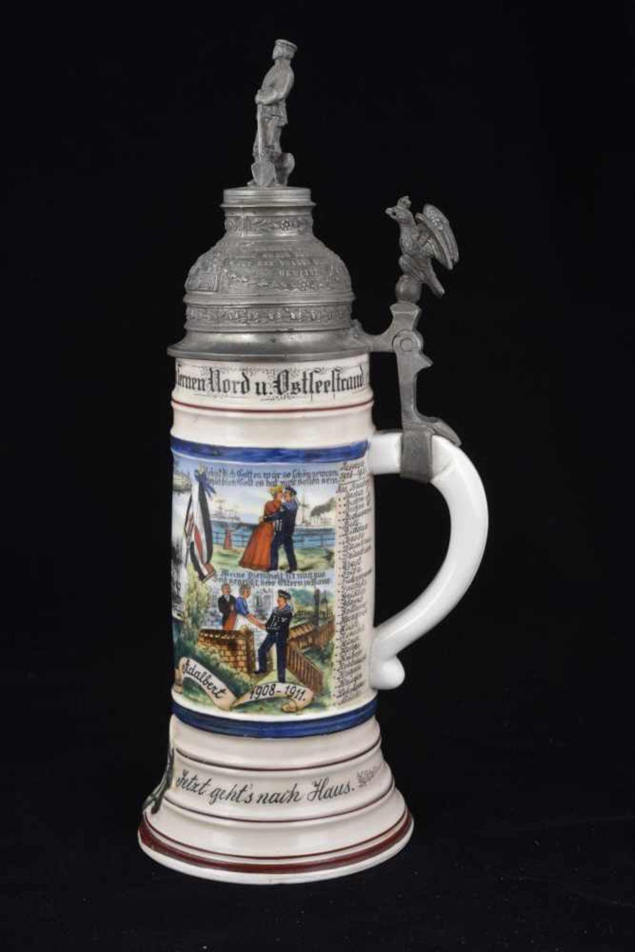 Chope du S.M.S. PRINZ ADALBERT En porcelaine blanche d'1/2 litre, richement décorée. Couvercle - Bild 4 aus 4