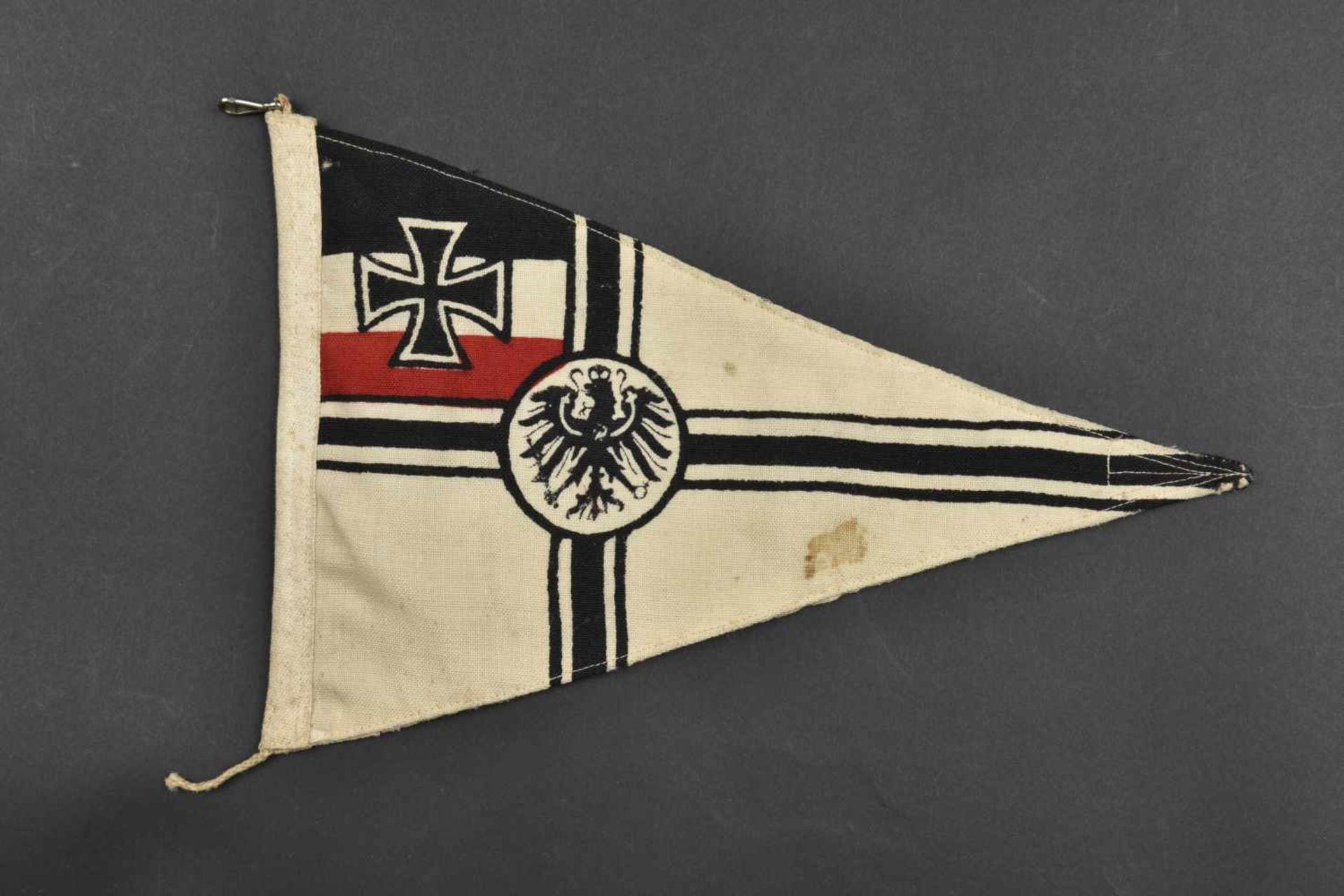 Los 42 - Fanion de voiture de la Kaiserliche Marine En tissu coton blanc, aigle impérial et croix de fer