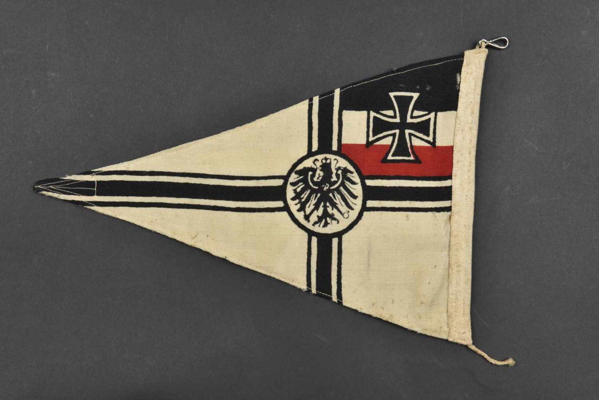 Fanion de voiture de la Kaiserliche Marine En tissu coton blanc, aigle impérial et croix de fer - Bild 2 aus 2