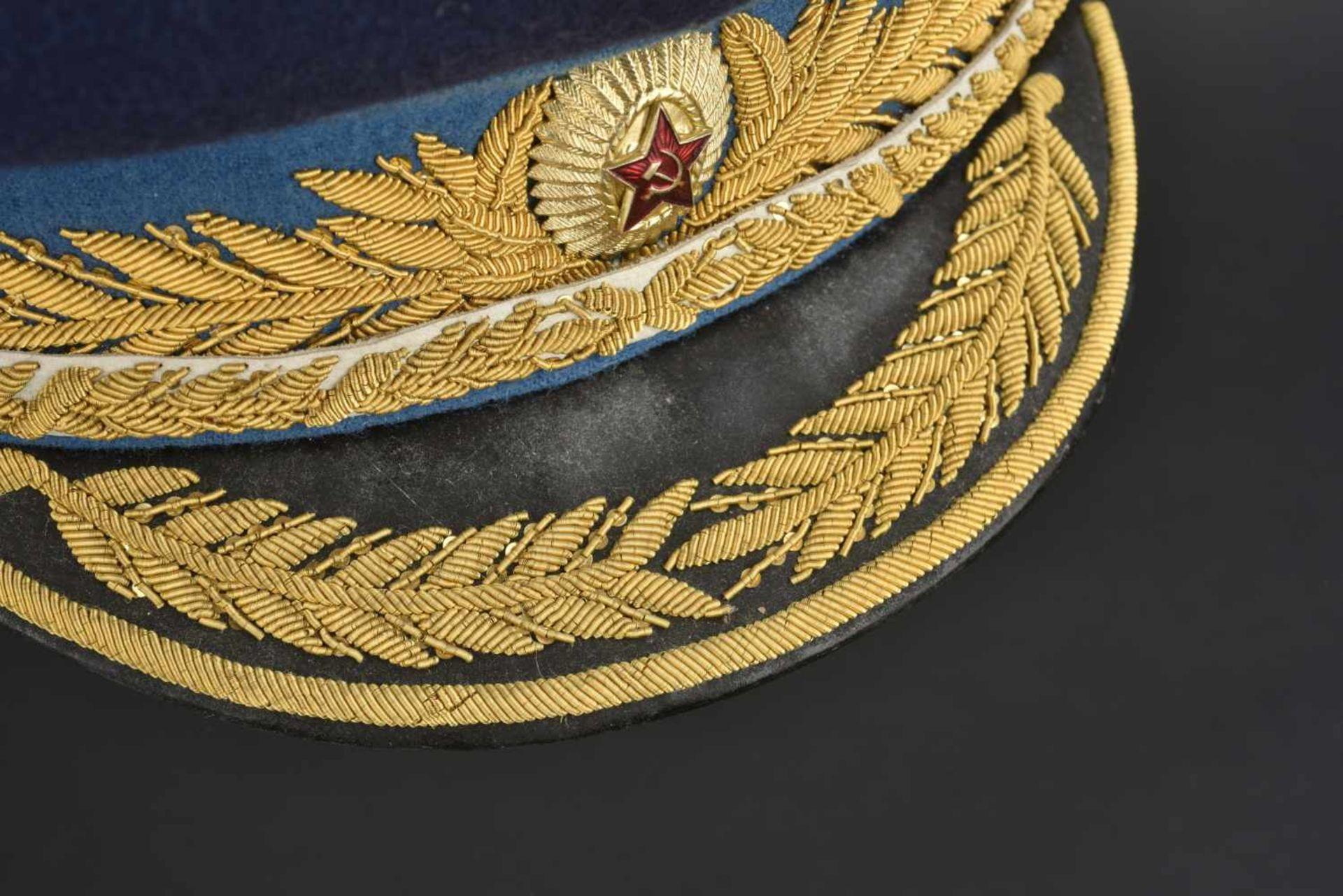 Los 52 - Casquette de général d'aviation soviétique En tissu bleu foncé, bandeau bleu ciel, insigne